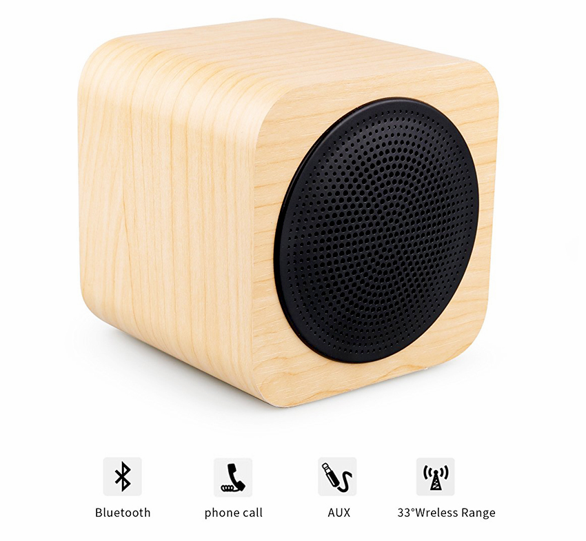 enceinte design cube avwoo bluetooth et son st r o en bois. Black Bedroom Furniture Sets. Home Design Ideas
